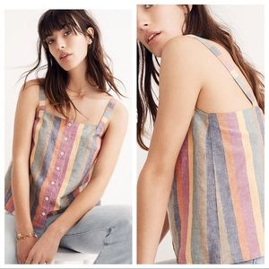 Madewell Rainbow Stripe Button-Front tank top